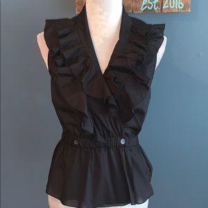 Trina Turk | Black Ruffle Neck Cotton Wrap Top